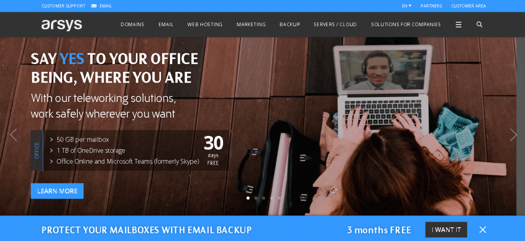 Best Web Hosting in Spain: Arsys home page