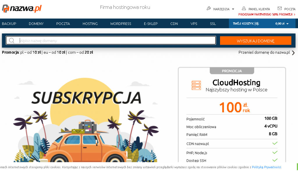 Best Web Hosting in Poland: cyber nazwa.pl Home page