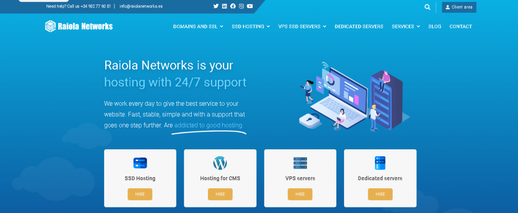 Best Web Hosting in Spain: Raiola Networks Home page
