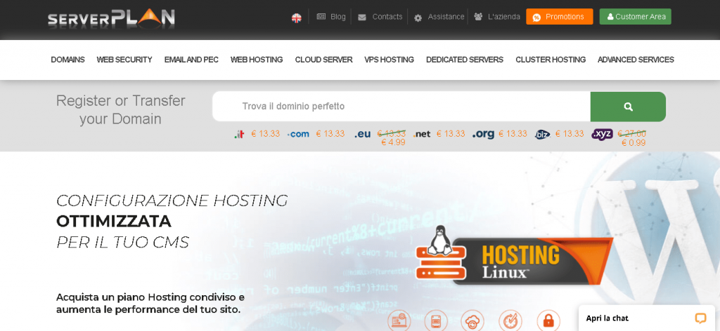 Best Angular Web Hosting in Italy: ServerPlan Home page