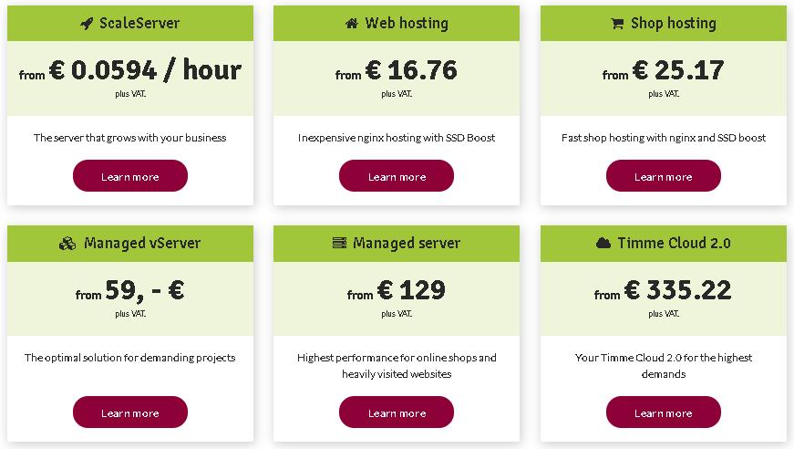 Best Angular Web Hosting in Germany: timmehosting plan