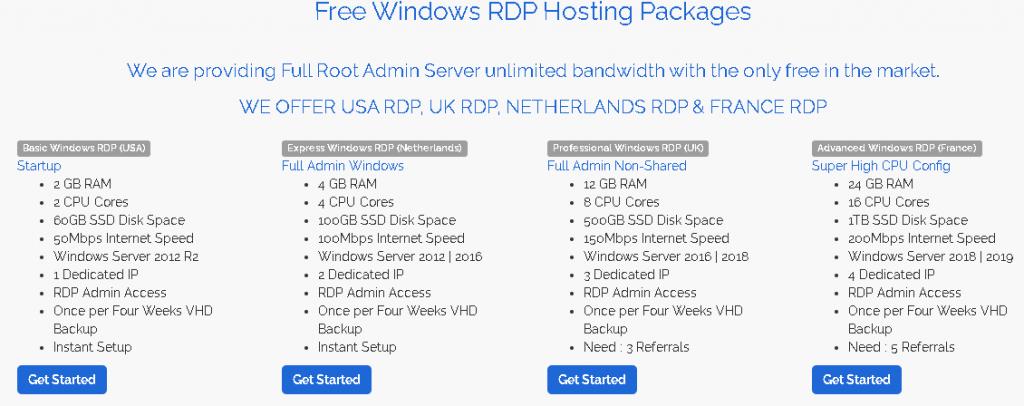 Free RDP server List:  FREERDPSERVER Hosting plan