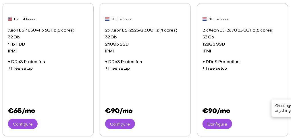 Best Web Hosting in Netherlands: HostKey hosting Plan