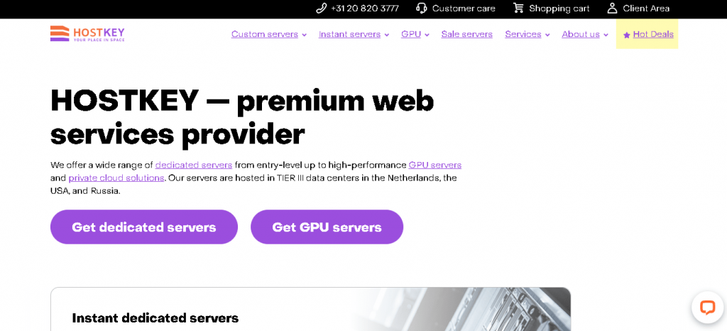 Best Web Hosting in Netherlands: HostKey Home Page