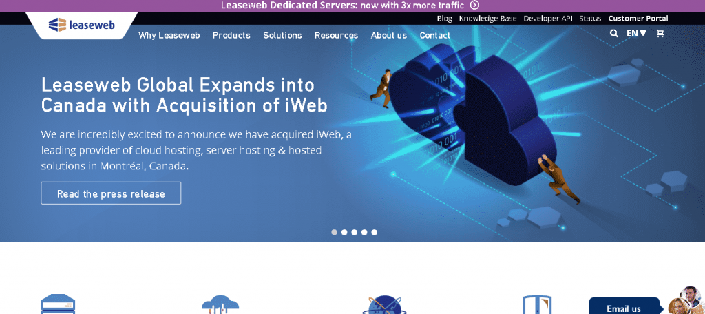 Best Web Hosting in Netherlands: Leaseweb Home Page