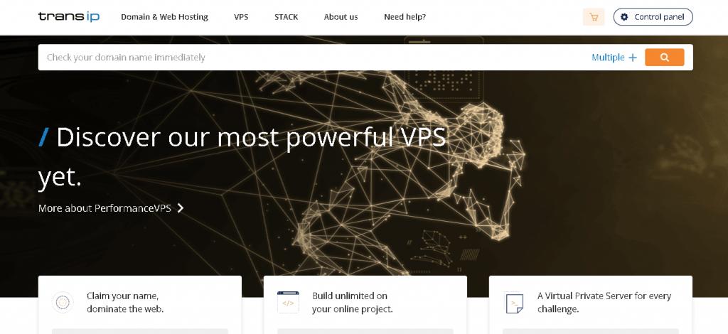 Best Web Hosting in Netherlands: Transip Home Page