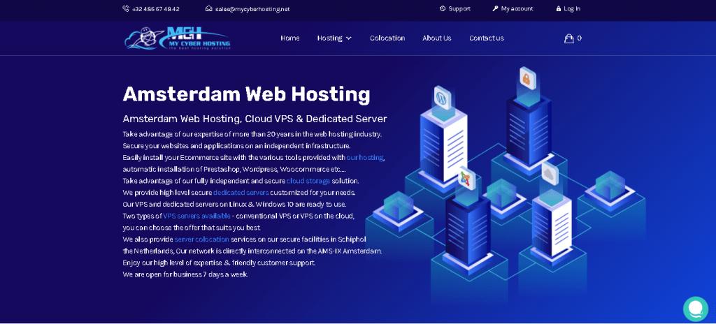 Best Web Hosting in Belgium: MycyberHosting Home page