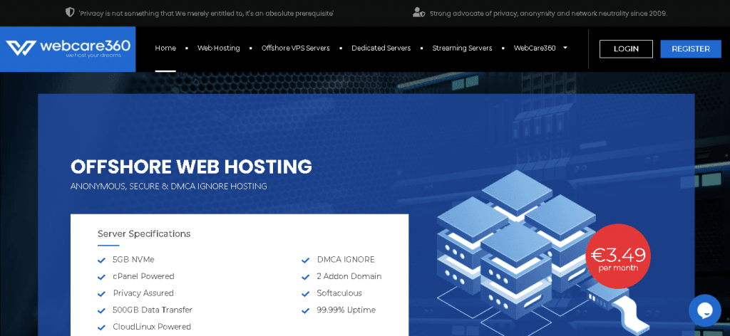 Best Web Hosting in Belgium: Webcare360 Home page